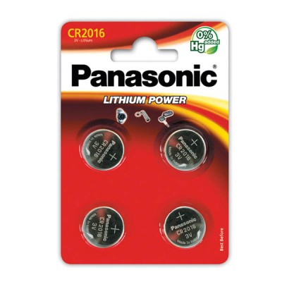 Батарейки Panasonic CR 2016 Lithium Power 3V, 4 шт./уп. (CR-2016EL/4B)