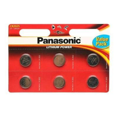 Батарейки Panasonic CR 2025 Lithium Power 3V, 6 шт./уп. (CR-2025EL/6B)
