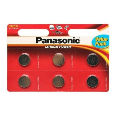 Батарейки Panasonic CR 2032 Lithium Power 3V, 6 шт./уп. (CR-2032EL/6B)