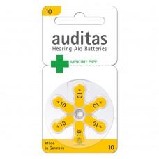 Батарейки AUDITAS 10 (PR70), 6 шт./уп.