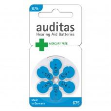 Батарейки AUDITAS 675 (PR44), 6 шт./уп.