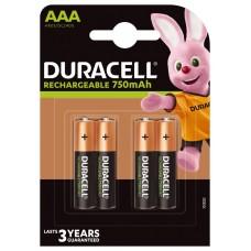 Аккумуляторы Duracell Rechargeable ААА 750 mAh, 4 шт./уп.