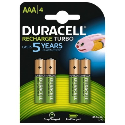 Аккумуляторы Duracell Recharge Turbo ААA 900 mAh, 4 шт./уп.