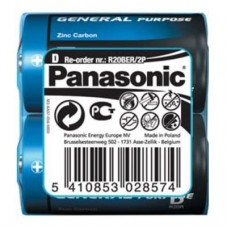 Батарейки Panasonic GENERAL PURPOSE D (R20) ZINK-CARBON, 2 шт./уп. (R20BER/2P)