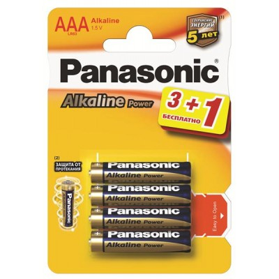 Батарейки Panasonic ALKALINE POWER AAA, 4 шт./уп. (LR03REB/4B1F)