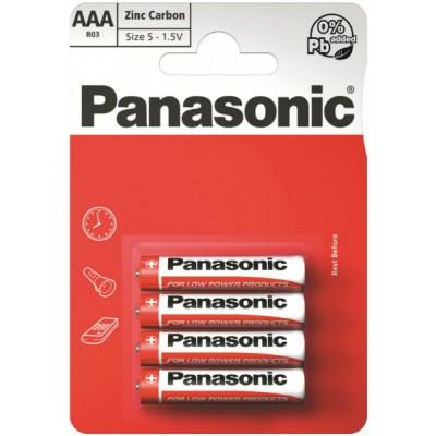 Батарейки Panasonic RED ZINK AAA (R03) ZINK-CARBON, 4 шт./уп. (R03REL/4BP)