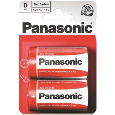 Батарейки Panasonic RED ZINK D (R20) ZINK-CARBON, 2 шт./уп. (R20REL/2BPR)
