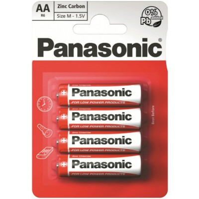 Батарейки Panasonic RED ZINK AA (R6) ZINK-CARBON, 4 шт./уп. (R6REL/4BPR)