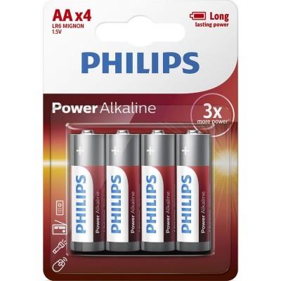 Батарейка Philips Power Alkaline AA, 4шт./уп.