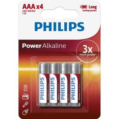 Батарейка Philips Power Alkaline AAA, 4шт./уп.