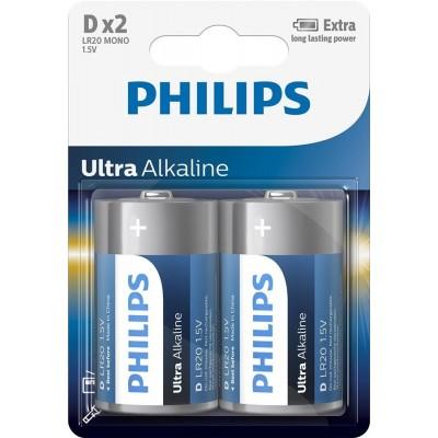Батарейка Philips Ultra Alkaline D, 2шт./уп.