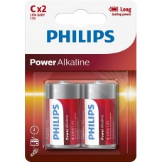 Батарейка Philips Power Alkaline C, 2шт./уп.