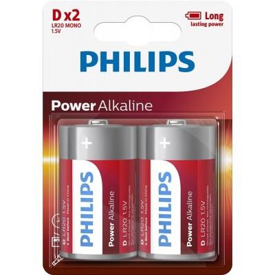 Батарейка Philips Power Alkaline D, 2шт./уп.