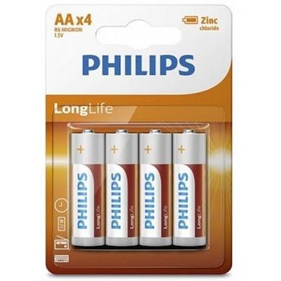 Батарейка Philips LongLife Zinc Carbon AA, 4шт./уп.