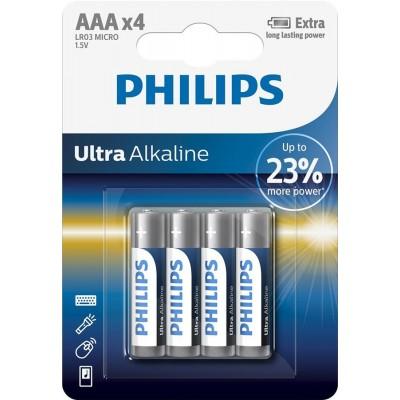 Батарейка Philips Ultra Alkaline AAA, 4шт./уп.