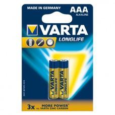 Батарейка VARTA LONGLIFE AAA ALKALINE, 2 шт./уп. (04103101412)