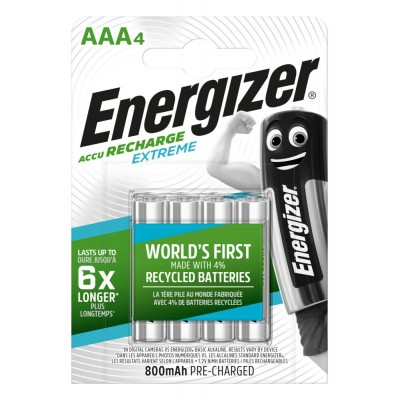 Аккумуляторы Energizer Recharge Extreme AAA 800 mAh, LSD Ni-MH, 4 шт./уп.