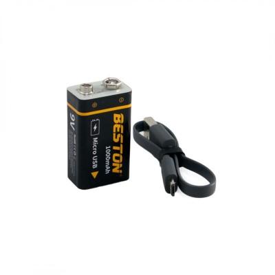 Аккумулятор Beston 1000mAh КРОНА 9V, Li-ion c USB