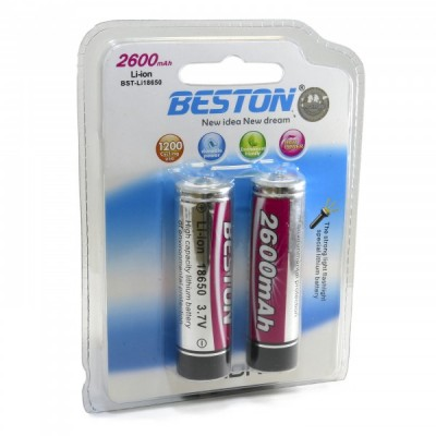 Аккумулятор BESTON 18650 2600mAh Li-ion с защитой (Protected), 2 шт./уп.