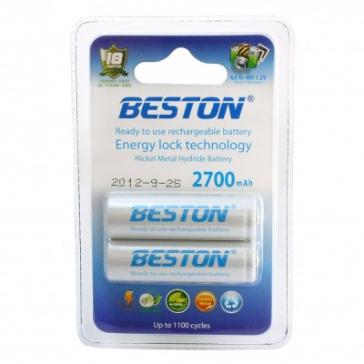 Аккумуляторы BESTON AA 2700 mAh READY TO USE (2 шт. в блистере)