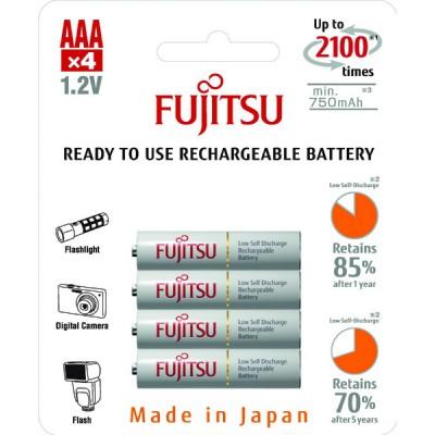Аккумуляторы Fujitsu AAA 800 mAh, 4 шт./уп., (HR-4UTCEU(4B))