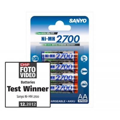 Пальчиковые АА аккумуляторы Sanyo 2700 mah (4 шт. в блистере)