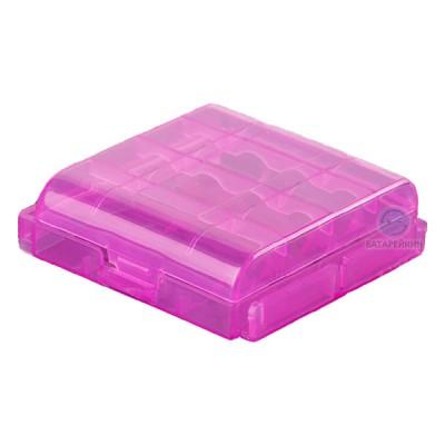 Бокс (кейс, органайзер) для аккумуляторов АА / ААА (розовый)