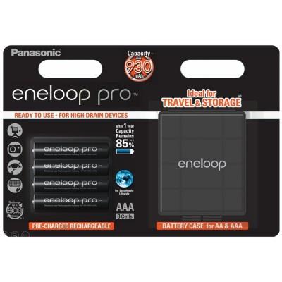 Аккумуляторы Panasonic Eneloop Pro AAA 950 mAh (min.930mah), 4 шт./уп. + кейс, (BK-4HCDEC4BE)