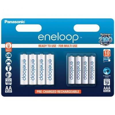 Аккумуляторы Panasonic Eneloop AA 1900 mAh + Eneloop AAA 750 mAh, 8 шт./уп. (BK-KJMCCE44E)