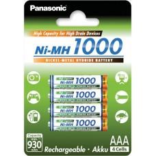 Аккумуляторы Panasonic High Capacity AAA 1000 mah, 4 шт./уп. (BK-4HGAE/4BE)