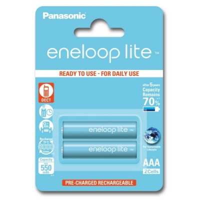 Аккумуляторы Panasonic Eneloop Lite AAA 550 mAh, 2 шт./уп.