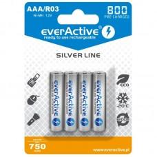 Аккумуляторы EverActive AAA 800 Silver Line, 4 шт./уп.