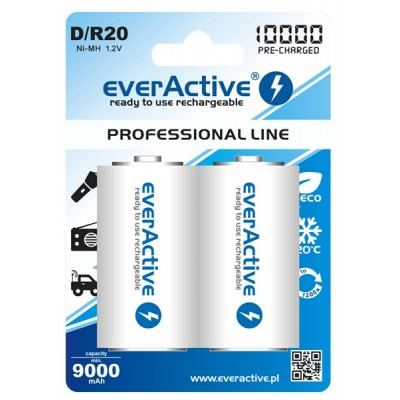 Аккумуляторы EverActive D/R20 10000 mAh, LSD, Professional Line 2шт./уп.