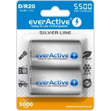 Аккумуляторы EverActive D/R20 5500, LSD, Silver Line 2шт./уп.