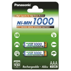 Аккумуляторы Panasonic High Capacity AAA 1000 mah, 2 шт./уп. (BK-4HGAE/2BE)