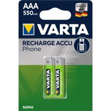 Аккумулятор VARTA Phone ACCU AAA 550mAh, 2 шт./уп. (58397101402)