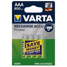 Аккумуляторы VARTA Recharge ACCU AAA 800 mAh RTU, 4 шт./уп. (56703)
