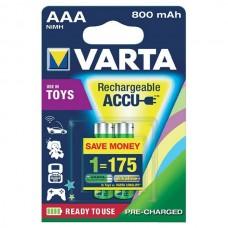 Аккумуляторы VARTA TOYS ACCU AAA 800mAh, 2 шт./уп. (56783101402)