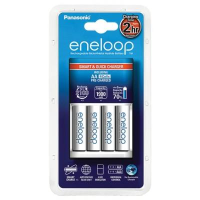 Зарядное устройство Panasonic Smart-Quick + аккумуляторы 4 шт. Eneloop AA 1900 mAh, (K-KJ55MCC40E)