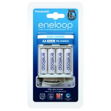 Зарядное Panasonic Basic USB Charger + 4 шт. Eneloop AA 1900 mAh (K-KJ61MCC40USB)