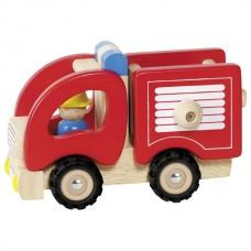 Машинка деревянная goki Пожарная (красный) 55927G