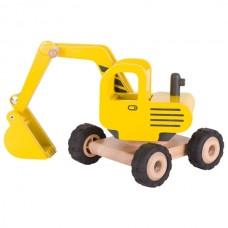 Машинка деревянная goki Экскаватор (желтый) 55898G