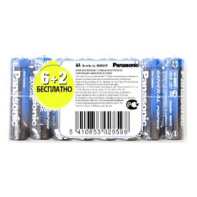 Батарейка Panasonic GENERAL PURPOSE AA ZINK-CARBON, 8 шт./уп. (R6BER/8P)
