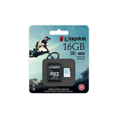 Карта памяти Kingston 16GB microSDHC C10 UHS-I U3 R90/W45MB/s + SD адаптер Action
