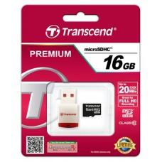 Карта памяти Transcend 16GB MicroSDHC C10 + USB ридер