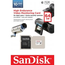 Карта памяти SanDisk 64GB microSDXC C10 W20MB/s High Endurance Video Monitoring + SD