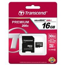 Карта памяти Transcend 16GB MicroSDHC C10 UHS-I R30MB/s + SD адаптер