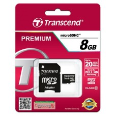 Карта памяти Transcend 8GB microSDHC C10 + SD адаптер