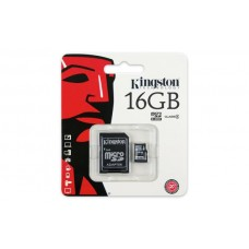 Карта памяти Kingston 16GB microSDHC C4 + SD адаптер