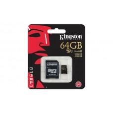 Карта памяти Kingston 64GB microSDXC C10 R90/W45MB/s + SD адаптер